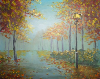 "Original  Painting 40x50cm(16x20 Inch) Oil on Canvas ""Park in autumn"""