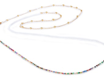 LONG NECKLACE made of Miyuki beads and golden chain