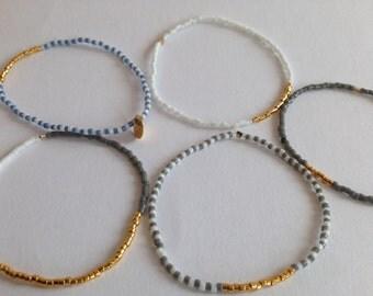 ELASTIC MIYUKI BRACELETS gold filled beads