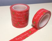 Cursive Merry Christmas on Red Washi Tape