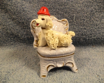 Cute Spaghetti Poodle Dog On Chair Figurine