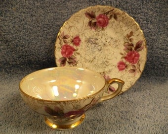 Floral Pink Rose Cup And Saucer With Luster And Gold Trim