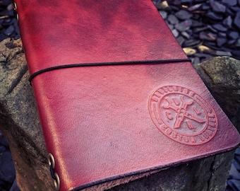 "Leather Refillable Journal. ""The Devilhide Cranium"" Fauxdori, Midori, Moleskin. (Midori pocket size)"