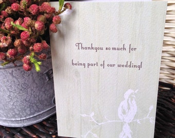 Rustic Bird 'Belle' Thankyou Cards - Wedding Stationery - Personalised and Printed