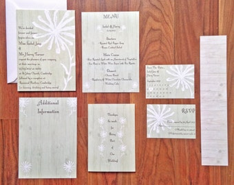 Rustic Flower 'Belle' - Wedding Stationery - SAMPLE PACK ONLY