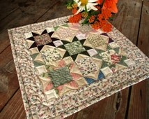 Patchwork Quilted Wall Hanging, Traditional Star Mini Quilt, Scrap Quilt, Display Quilt, Small Square Table Topper, Soft Spring Florals