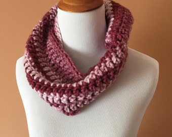 Pink Mutli-Colored Infinity Scarf, Infinity Scarf