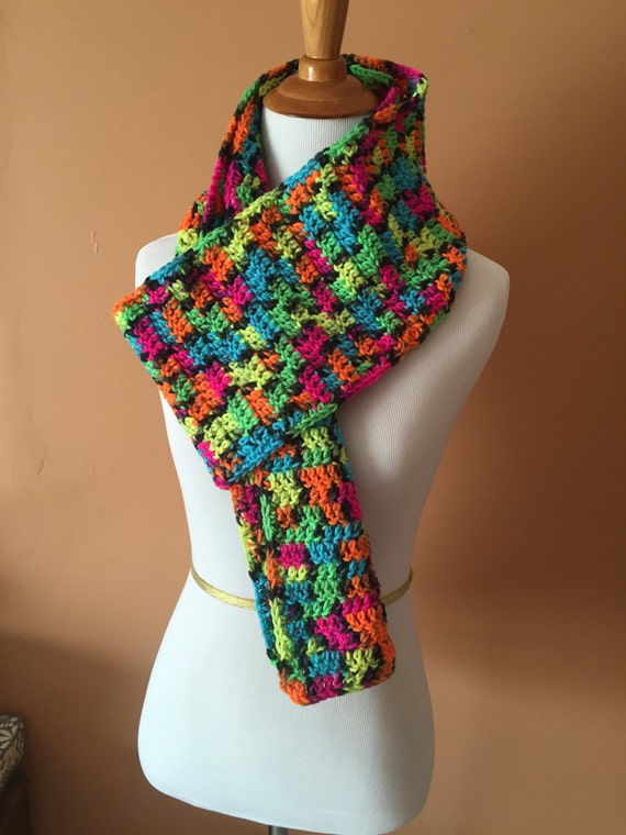 items similar to neon scarf multi coloered scarf on etsy
