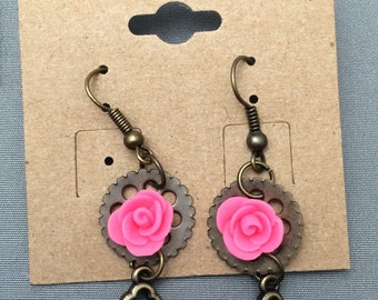 Steampunk earrings, steampunk rose earrings, pastel goth, glow in the dark earrings, rose earrings, Beauty and the beast rose, gears, roses