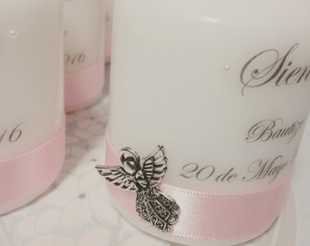 Baptism/ Christening/ Confirmation Naming personalised candle with angel embellishment