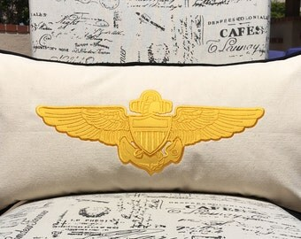 """Handmade US Navy Pilot Wings Lumbar Pillow Cover Only Christmas Gift Winging Gift Personalized Naval Aviation 12""""x24"""""""