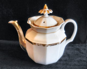 Porcelain Teapot White with Gold Bands Antique circa 1870s