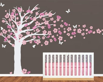 Nursery Tree Decals ,Cherry Blossom Flower ,butterfly Sticker, Home Stickers,  Baby Room