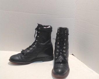 sz 7.5b vintage black leather justin lace up granny combat boots