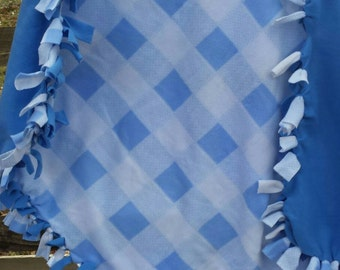 Tie Blanket, Fleece Tie Blanket, Baby Shower Gift For Him, Baby Boy Blue Blanket, Tie Lap Blanket, Blue Fleece Blanket, Blue Pet Bedding