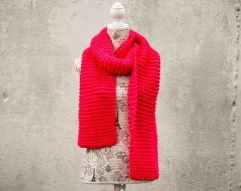 Hot Pink knit scarf