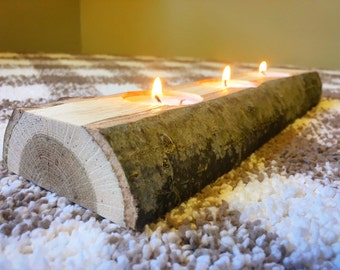 Wooden Candle Holder. Rustic Wedding Decor. Wooden Log Tealight.