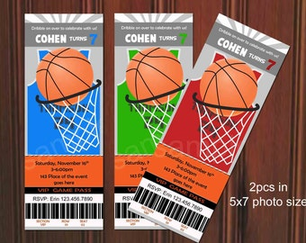Basketball Invitation, Basketball Birthday Invitation. Ticket Style. Digital (you print)