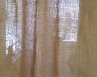 Set of 2 Burlap Curtains, Premium Quality Natural Burlap, Natural Burlap Curtains, Sheer Brown Burlap Curtains.