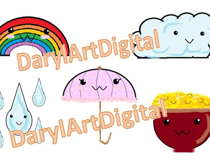 Cute weather clipart, kawaii chibi instant download clip art