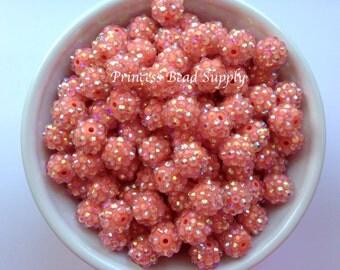 12mm Coral Rhinestone Beads Set of 10, 20 or 50,  12mm Rhinestone Beads, Chunky Bubble Gum Beads, Gumball Beads, Acrylic Beads