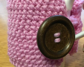 Handmade pink cup cozy or mug, tea cosy, coffee cozy, mug cozy, tea cozy