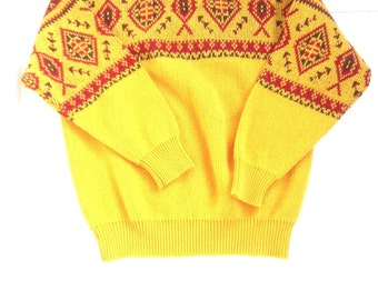Vintage united colors of benetton sweater. Mustard color designer fall sweater.