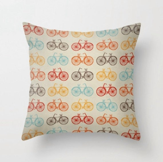 Throw Pillows With Washable Covers : Bike retro throw pillow cover washable double by LeonLionStudio