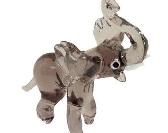 Elephant Glass Figurine Art Glass Murano Style Hand Blown Lampwork 3 inch x 3.5 inch
