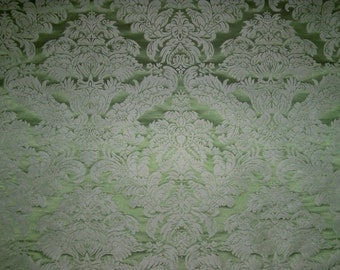 CLARENCE HOUSE LOTUS Medallion Silk Linen Damask Fabric 10 Yards Celadon Green / Opal