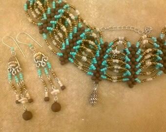 Boho Inspired Choker Necklace & Earrings Set