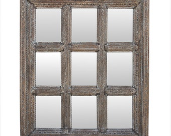 Multi-Panel Window Mirror, carved mirror, Indian mirror, Antique mirror, Window mirror, moroccan mirror,painted mirror,French mirror