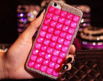 Luxury Hot Pink Bling Rhinestone Hard Handcrafted Handmade 3D Cover Protective bling case LG V10, LG K7, Tribute 5, LG G Stylo LS770