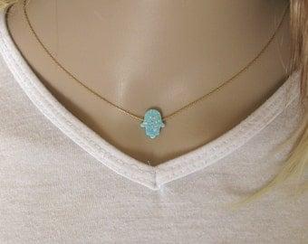 Opal hamsa necklace, opal necklace, green opal necklace, evil eye necklace, gold filled necklace, opal jewelry, opal hand jewelry
