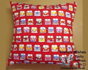 "Campervan Cushion >> Pillow >> Cushion Pad >> Approx 18"" X 18"" >> Envelope Back >> Cotton Fabric >> Holiday Themed"