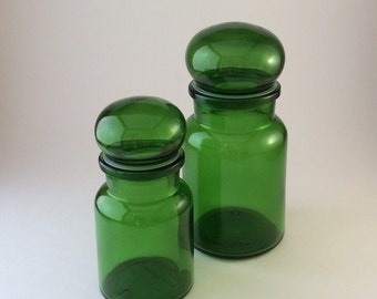 Vintage Green Glass Apothecary Jars Canisters Bubble Tops Made in Belgium Set of 2