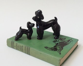 Vintage Black Poodle Figurines, Pair of Poodles,  Japan Redware Figurines