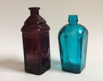 Vintage Pair of Wheaton Glass Bottles, Turquoise Straubmullers Elixir, Purple Berrings Apple Bitters, Vintage Colored Glass Bottles