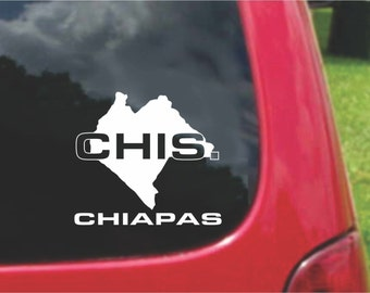 2 Pieces Chiapas  Mexico Outline Map  Stickers Decals 20 Colors To Choose From.  U.S.A Free Shipping