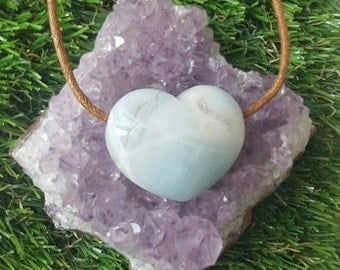 Amazonite loveheart crystal necklace