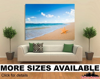 Wall Art Giclee Canvas Picture Print Gallery Wrap Ready to Hang - Starfish and Beach - 60x40 48x32 36x24 24x16 18x12 3.2