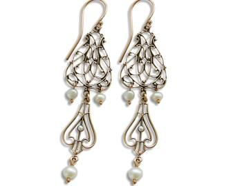 Chandelier Gold Earrings, pearl earrings, 14K Gold earrings, Pearls dangle earrings, For woman Gemstone Wedding earrings, everyday earrings