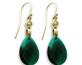 Teardrop Green gold earrings, 14K Gold Large earrings, Green Agate and pearl, Green Oval dangle Earrings, Glamorous green gemstone Earrings