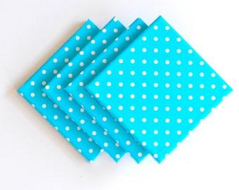 Polka Dots Blue Tile Coasters Set of 4