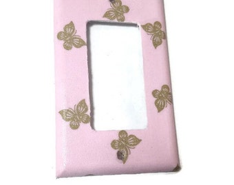 Pink and Gold decor - Butterfly light switch cover - Butterfly decor - Butterfly nursery - Girls bedroom - Butterfly wall decor -  Pink room
