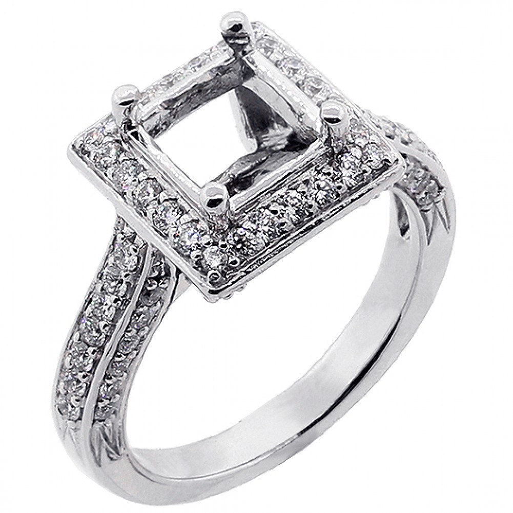 0 80Ctw F VS2 SI1 Princess Cut Halo Engagement Ring Setting
