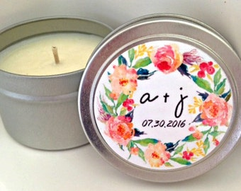 Bridal Shower Favor- Soy Candles- Personalized Favors- Rustic Wedding Favors- Party Favors- Set of 12
