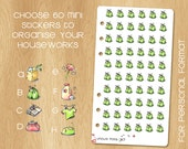 Choose your Mini Watercolor Stickers to Organize your Houseworks - 60 Stickers fitting in a Kikki.k Medium or Filofax Personal
