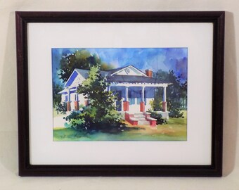 Watercolor Painting Quaint Cottage Victoria Platt Ellis Framed