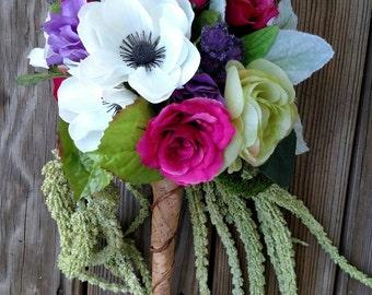 Garden Themed wedding, Scepter Bouquet, Woodland wedding bouquet,  with thistle bouquet